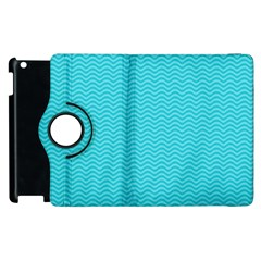 Blue Waves Pattern  Apple Ipad 3/4 Flip 360 Case by TastefulDesigns