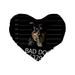 Bad Dog Standard 16  Premium Flano Heart Shape Cushions by Valentinaart