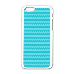Abstract Blue Waves Pattern Apple Iphone 6/6s White Enamel Case by TastefulDesigns