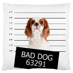 Bad Dog Large Flano Cushion Case (two Sides) by Valentinaart