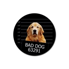 Bad Dog Rubber Round Coaster (4 Pack)  by Valentinaart