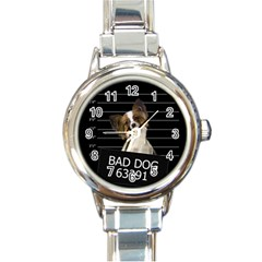 Bad Dog Round Italian Charm Watch