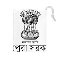 Seal Of Indian State Of Tripura Drawstring Pouches (large)  by abbeyz71