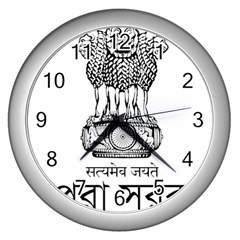 Seal Of Indian State Of Tripura Wall Clocks (silver)  by abbeyz71