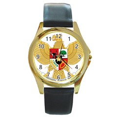 National Emblem Of Indonesia  Round Gold Metal Watch by abbeyz71