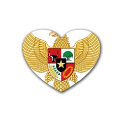 National Emblem Of Indonesia  Rubber Coaster (heart)  by abbeyz71