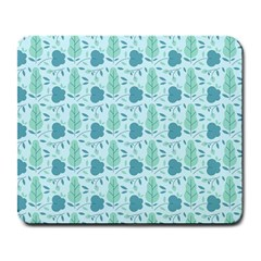 Flowers And Leaves Pattern Large Mousepads by TastefulDesigns