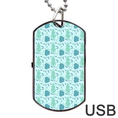 Flowers And Leaves Pattern Dog Tag Usb Flash (one Side) by TastefulDesigns