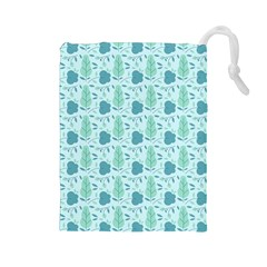 Flowers And Leaves Pattern Drawstring Pouches (large)  by TastefulDesigns