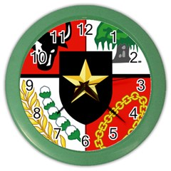 Shield Of National Emblem Of Indonesia Color Wall Clocks by abbeyz71