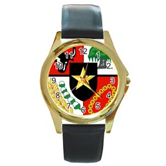 Shield Of National Emblem Of Indonesia  Round Gold Metal Watch by abbeyz71