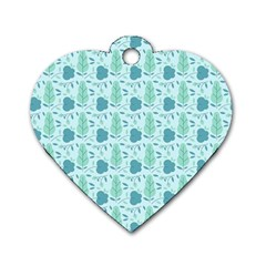 Seamless Floral Background  Dog Tag Heart (two Sides) by TastefulDesigns
