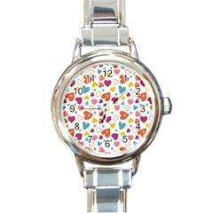 Colorful Bright Hearts Pattern Round Italian Charm Watch by TastefulDesigns