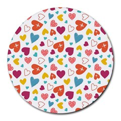 Colorful Bright Hearts Pattern Round Mousepads by TastefulDesigns