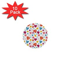 Colorful Bright Hearts Pattern 1  Mini Buttons (10 Pack)  by TastefulDesigns