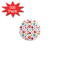 Colorful Bright Hearts Pattern 1  Mini Magnets (100 Pack)  by TastefulDesigns