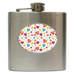 Colorful Bright Hearts Pattern Hip Flask (6 Oz) by TastefulDesigns
