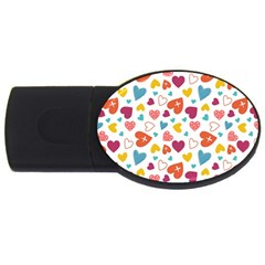 Colorful Bright Hearts Pattern Usb Flash Drive Oval (4 Gb) by TastefulDesigns