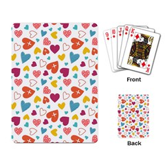 Colorful Bright Hearts Pattern Playing Card by TastefulDesigns