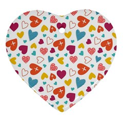 Colorful Bright Hearts Pattern Heart Ornament (two Sides) by TastefulDesigns