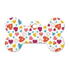 Colorful Bright Hearts Pattern Dog Tag Bone (two Sides) by TastefulDesigns