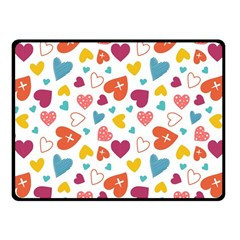 Colorful Bright Hearts Pattern Fleece Blanket (small) by TastefulDesigns