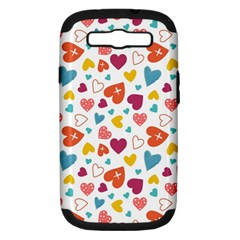 Colorful Bright Hearts Pattern Samsung Galaxy S III Hardshell Case (PC+Silicone) by TastefulDesigns