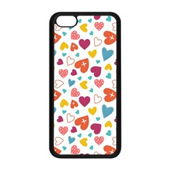 Colorful Bright Hearts Pattern Apple Iphone 5c Seamless Case (black) by TastefulDesigns
