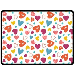 Colorful Bright Hearts Pattern Double Sided Fleece Blanket (large)  by TastefulDesigns