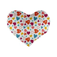 Colorful Bright Hearts Pattern Standard 16  Premium Flano Heart Shape Cushions by TastefulDesigns