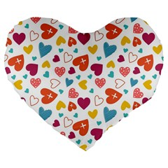 Colorful Bright Hearts Pattern Large 19  Premium Flano Heart Shape Cushions by TastefulDesigns