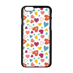 Colorful Bright Hearts Pattern Apple Iphone 6/6s Black Enamel Case by TastefulDesigns