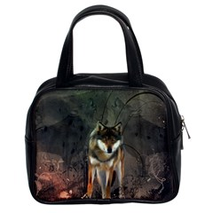 Awesome Wolf In The Night Classic Handbags (2 Sides) by FantasyWorld7
