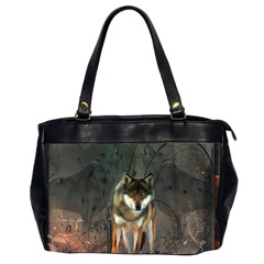 Awesome Wolf In The Night Office Handbags (2 Sides)  by FantasyWorld7