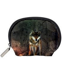 Awesome Wolf In The Night Accessory Pouches (small)