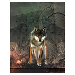 Awesome Wolf In The Night Drawstring Bag (large) by FantasyWorld7