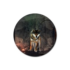 Awesome Wolf In The Night Rubber Coaster (round)  by FantasyWorld7