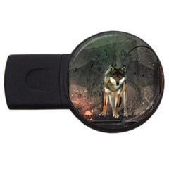 Awesome Wolf In The Night Usb Flash Drive Round (2 Gb) by FantasyWorld7