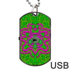 Vegetarian Art With Pasta And Fish Dog Tag Usb Flash (two Sides) by pepitasart