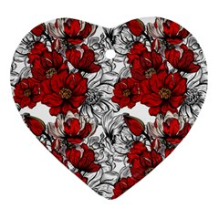 Hand Drawn Red Flowers Pattern Ornament (heart) by TastefulDesigns