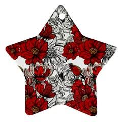 Hand Drawn Red Flowers Pattern Ornament (star) by TastefulDesigns