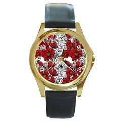 Hand Drawn Red Flowers Pattern Round Gold Metal Watch by TastefulDesigns