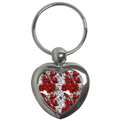 Hand Drawn Red Flowers Pattern Key Chains (heart)  by TastefulDesigns