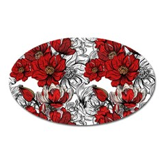Hand Drawn Red Flowers Pattern Oval Magnet by TastefulDesigns