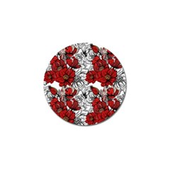 Hand Drawn Red Flowers Pattern Golf Ball Marker (4 Pack) by TastefulDesigns