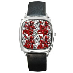 Hand Drawn Red Flowers Pattern Square Metal Watch by TastefulDesigns