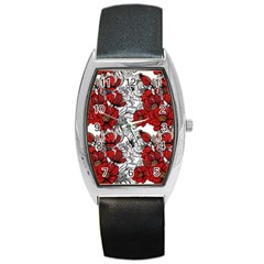 Hand Drawn Red Flowers Pattern Barrel Style Metal Watch by TastefulDesigns
