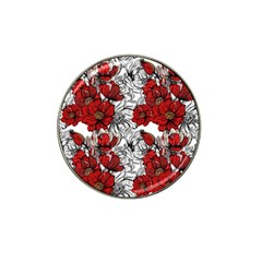Hand Drawn Red Flowers Pattern Hat Clip Ball Marker by TastefulDesigns