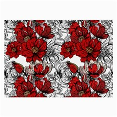 Hand Drawn Red Flowers Pattern Large Glasses Cloth by TastefulDesigns