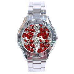 Hand Drawn Red Flowers Pattern Stainless Steel Analogue Watch by TastefulDesigns